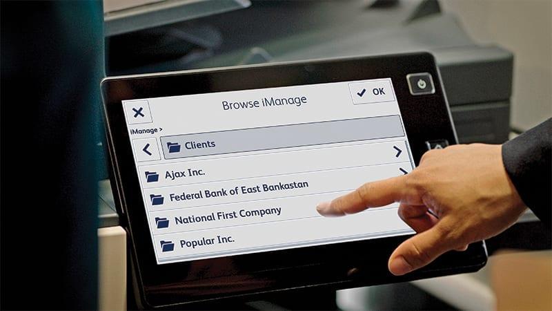 Écran d'affichage MFP iManage navigation